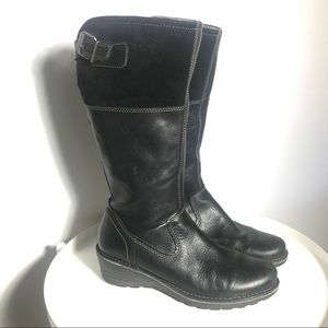 Ecco leather high cut black boots